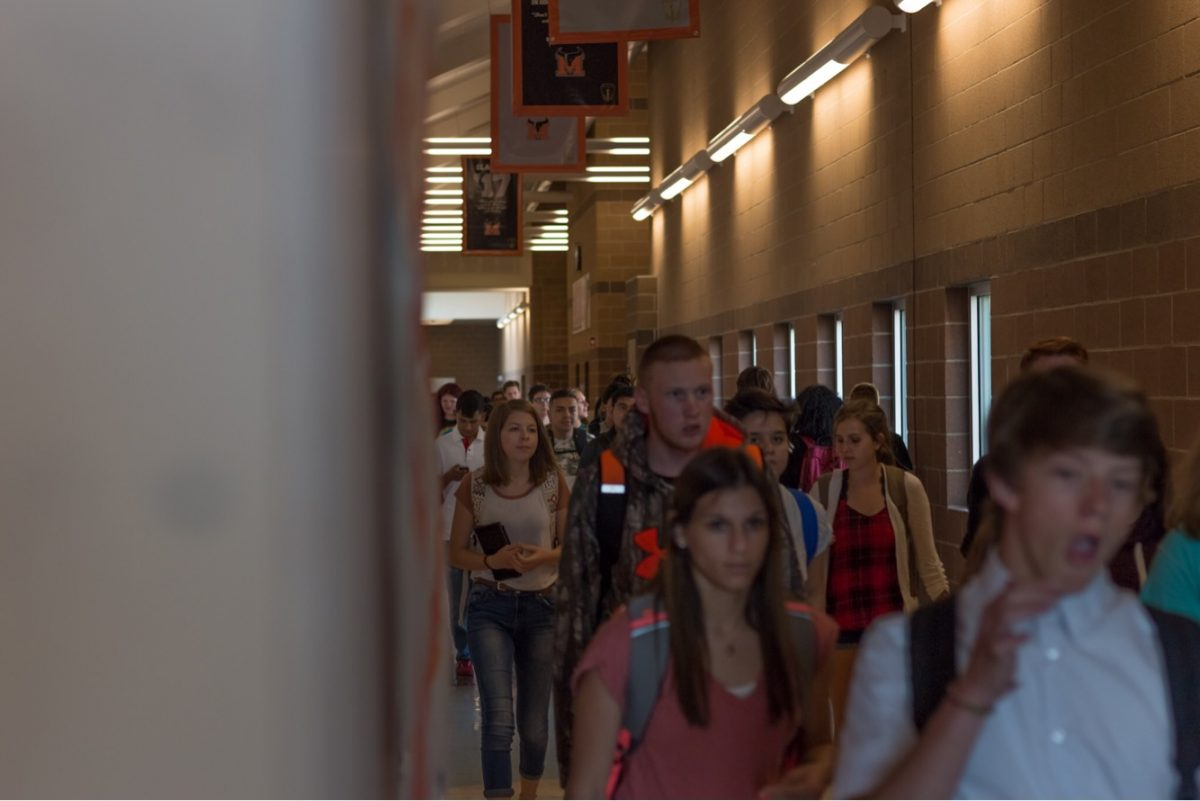 Students during passing period at MHS.