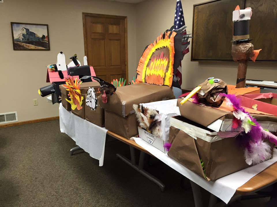 Some of the Thanksgiving boxes, made by students at Mead Elementary, ready to be distributed.