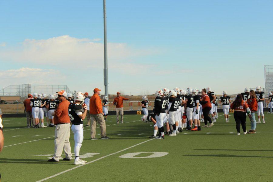 Football team warming up