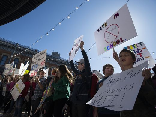 Students protest from several Fort Collins schools on Tuesday, February 27.