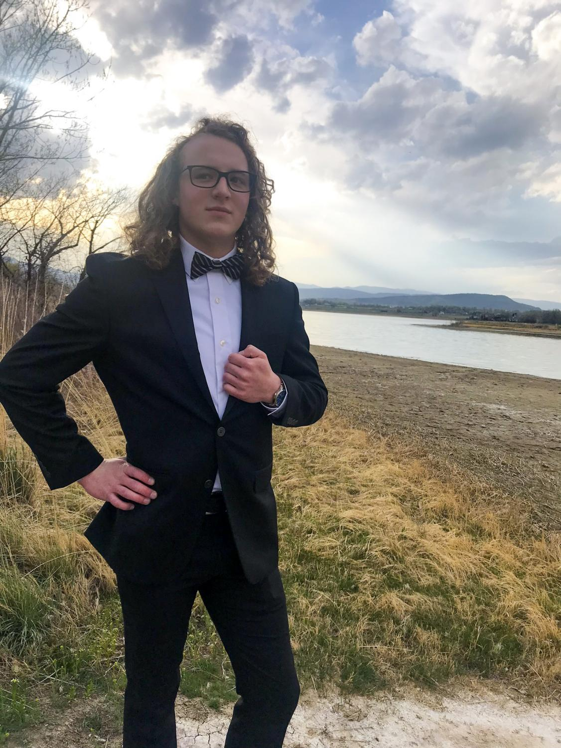 Jared Overturf poses for a photo before attending the 2018 prom