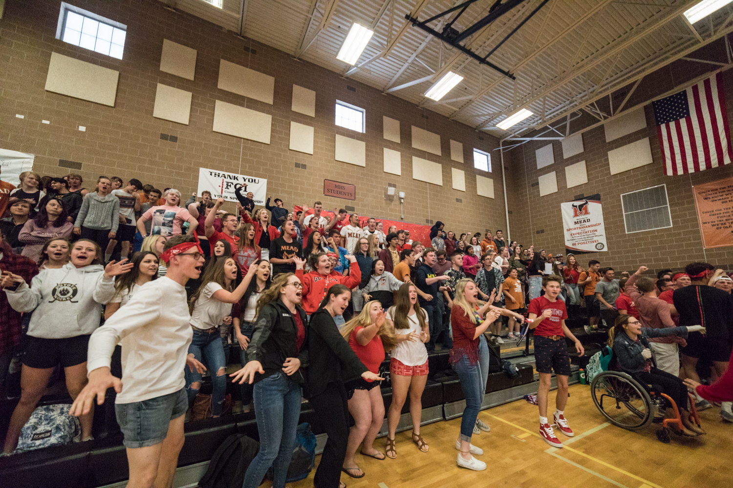 Students cheer for Unified athletes during a 2017-2018 assembly.