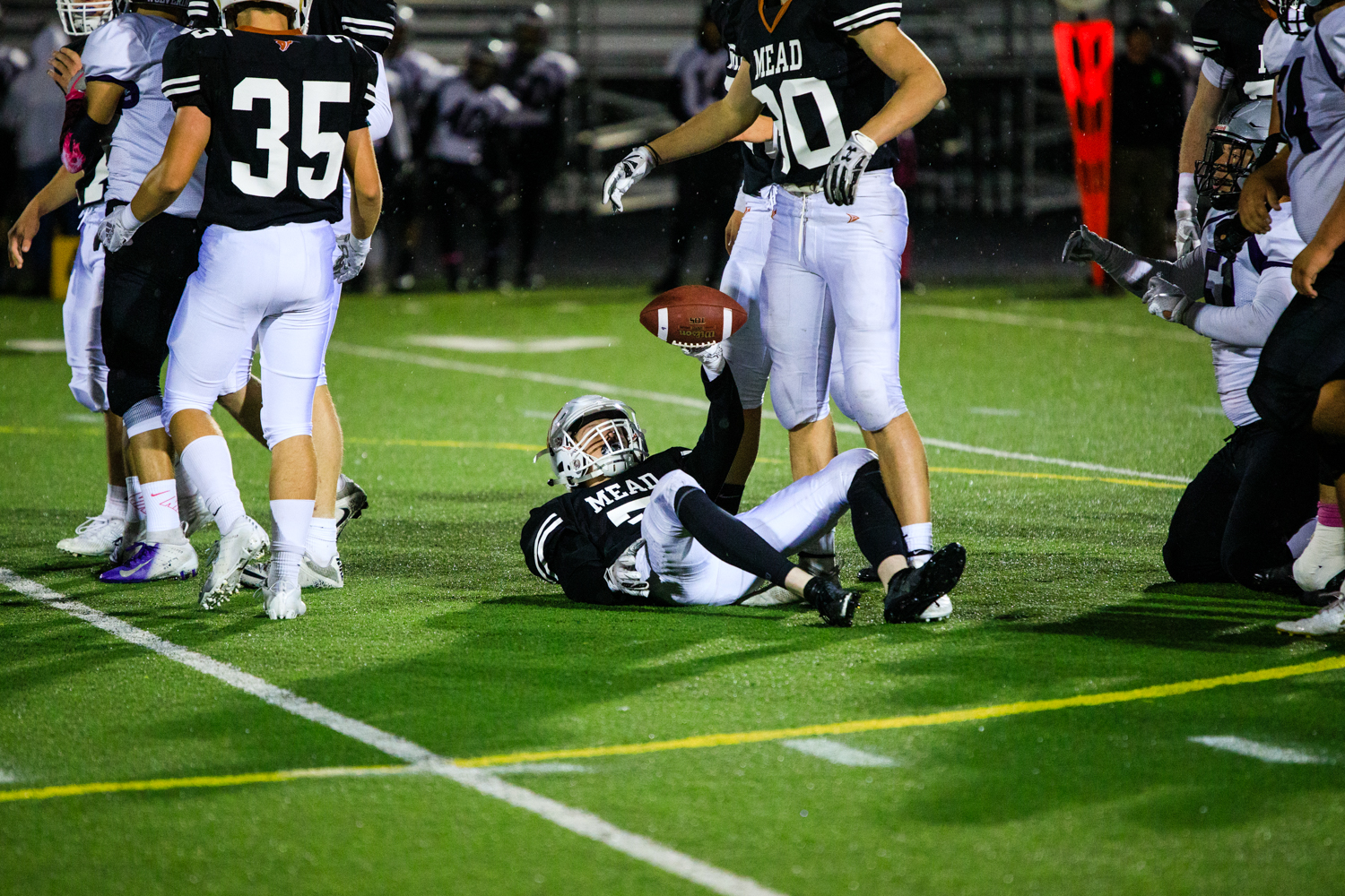 Trey+Ward+holds+up+the+recovered+%27fumble%27+that+was+overturned.+Mead%2C+however%2C+would+keep+Skyview+from+advancing+past+Mead%27s+45-yard+line.