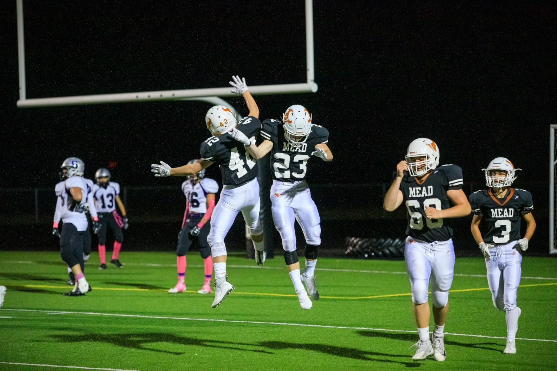Jake+celebrates+his+touchdown+with+%2342+Eli+Mackey%2C+Sophomore.+