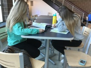 MHS students working on homework during an off block