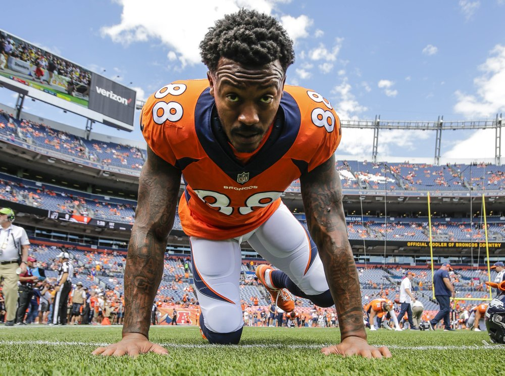 Demaryius Thomas is featured in the above photo. Credit to the Associated Press.