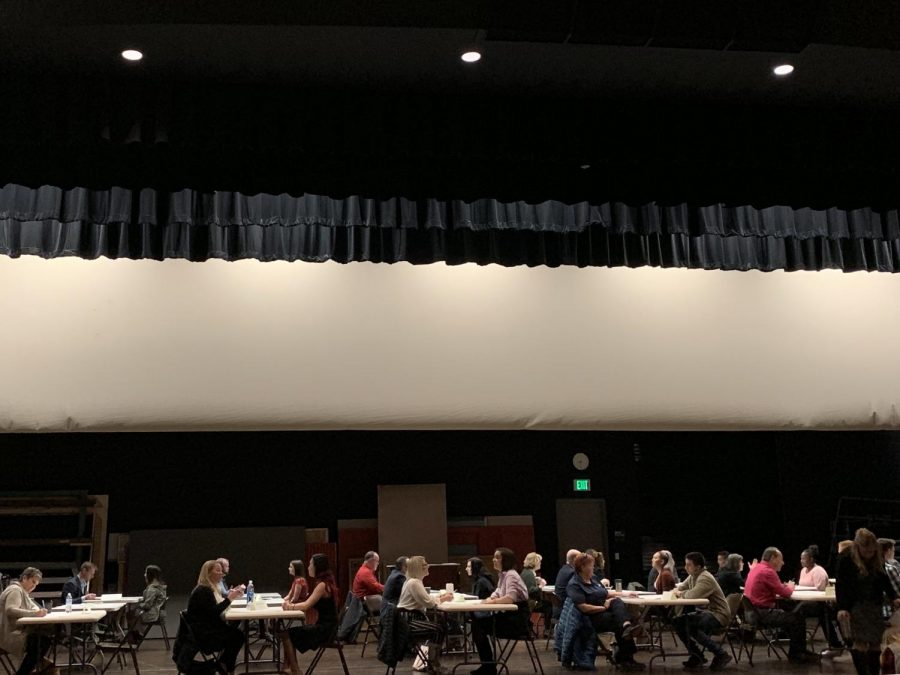 Business leaders from around the community gather in Mead High Schools auditorium to give students a chance to practice a high stress interview.