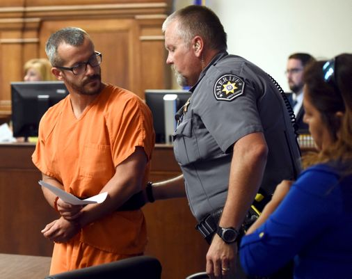Photo of Christopher Watts on August 16th, 2018 in Weld County Courthouse.  Photo Credit: Joshua Polson/ The Greely Tribune/ AP