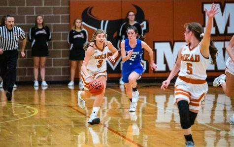 Mary Maher takes the ball down the court while teammate Savanna Griebling calls for it in the Lady Mavericks' win over Longmont