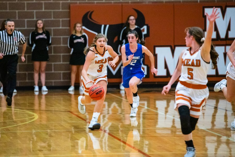 Mary+Maher+takes+the+ball+down+the+court+while+teammate+Savanna+Griebling+calls+for+it+in+the+Lady+Mavericks%27+win+over+Longmont