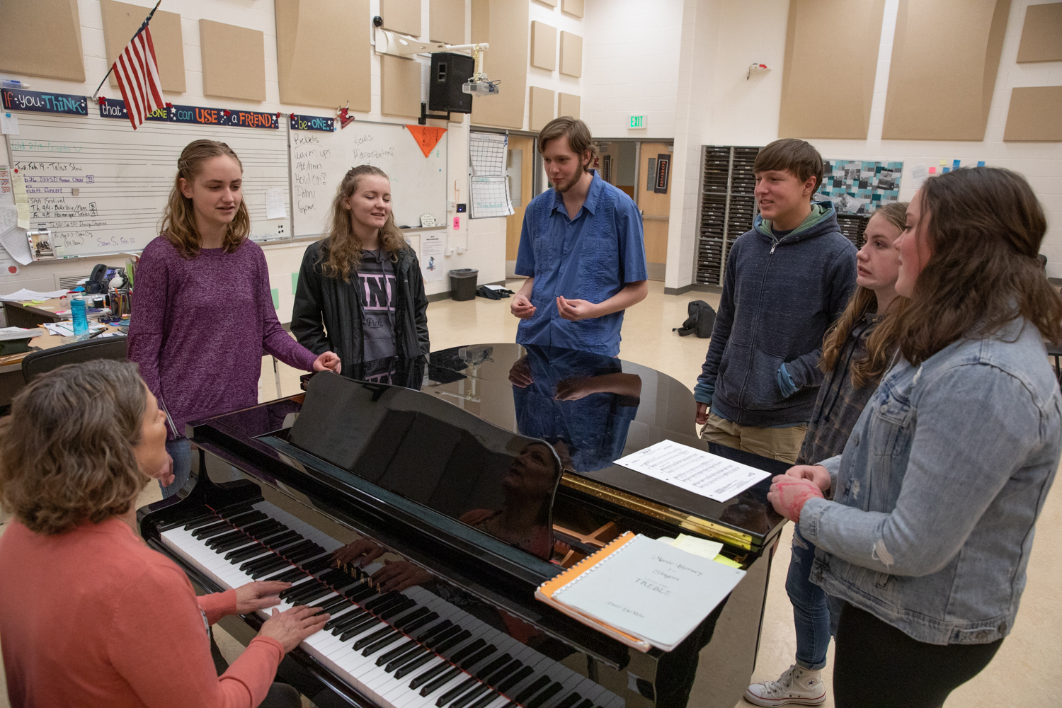 MHS choir students practice their songs to perform on Valentines day.