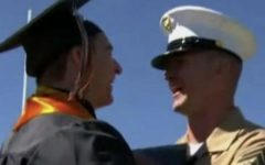 US Marine Corporal Thomas Harton made a special trip to surprise his brother Scott Harton at graduation Saturday, May 26