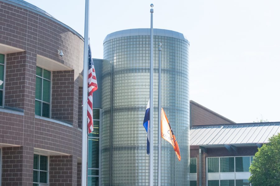 The+flags+at+Mead+High+School+are+at+half+mast+in+honor+of+the+recent+school+shooting.+