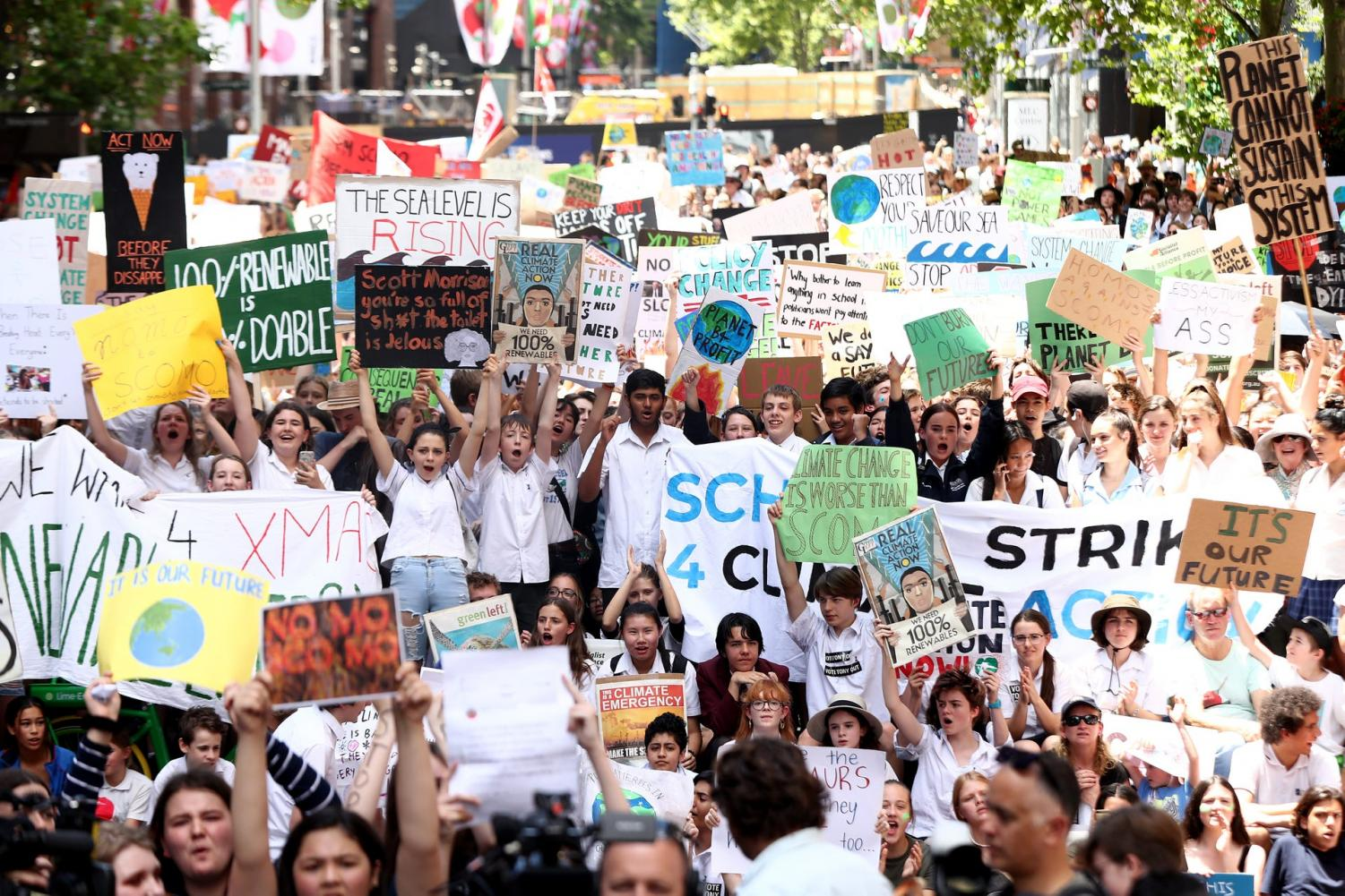 Students gather to demand the government take action on climate change at Martin Place on November 30, 2018 in Sydney, Australia. Inspired by Greta Thunberg, thousands of students walked out of school in cities across Australia to demand government action. Prime Minister Scott Morrison urged students to stay in school, telling parliament,