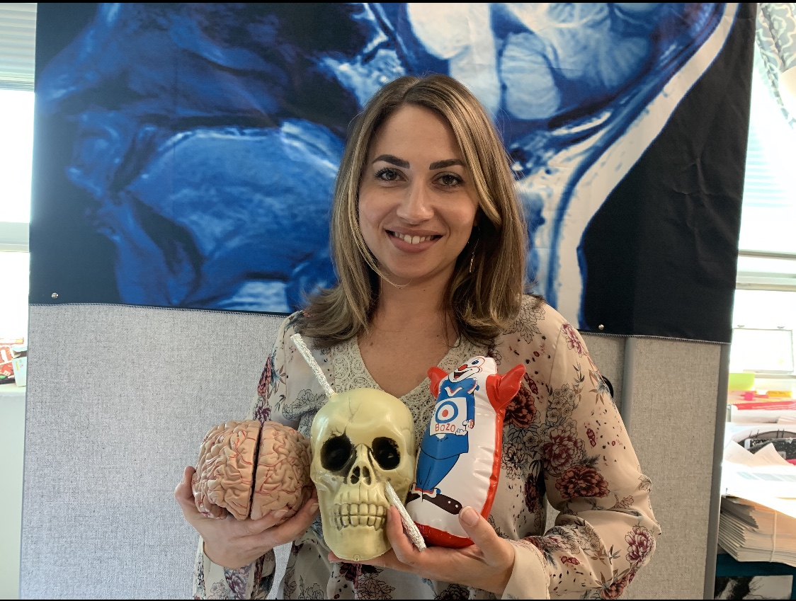 Mrs. Sandoval with her brains for AP Psychology