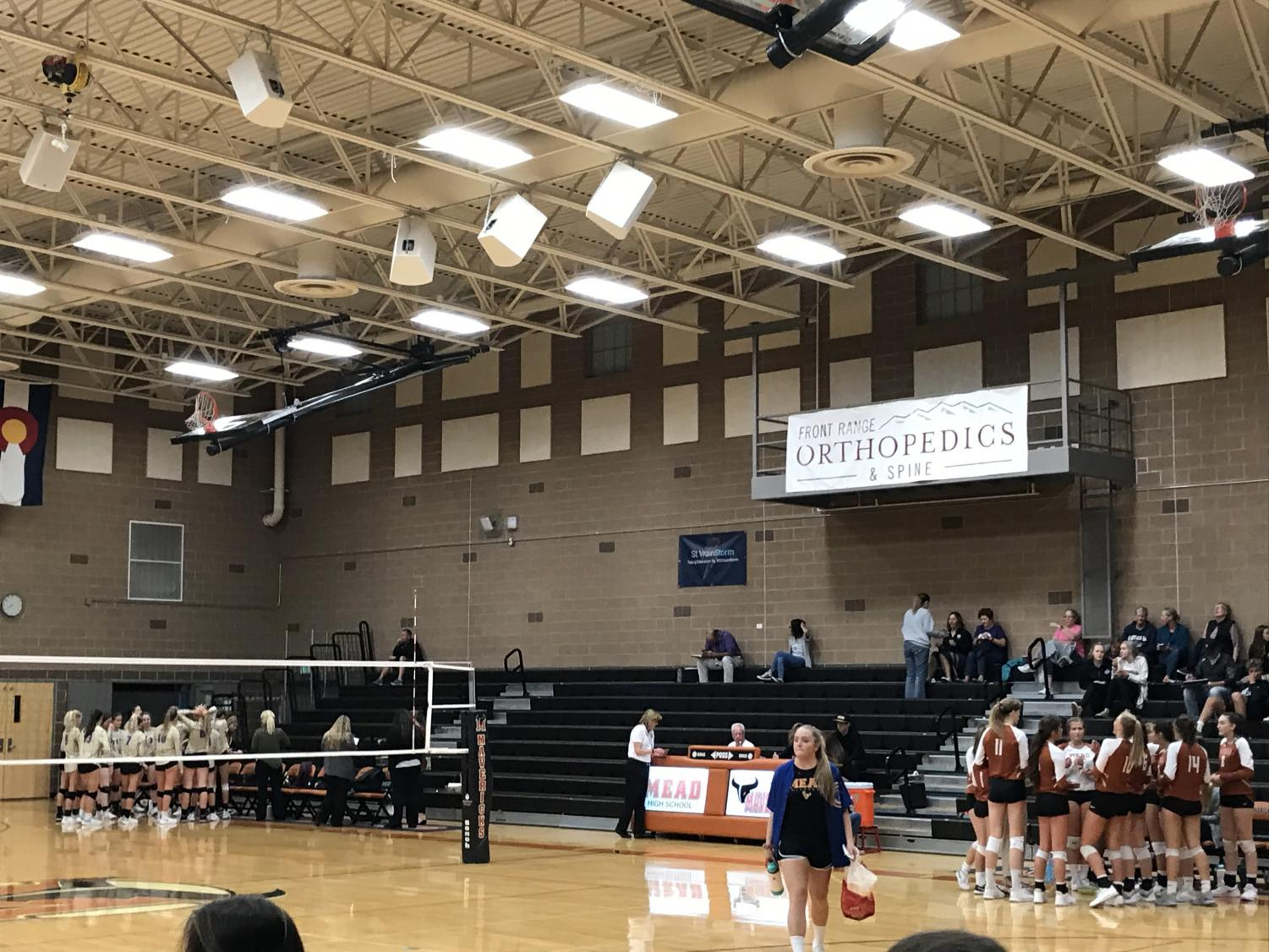 Volleyball game in Mead's main gym