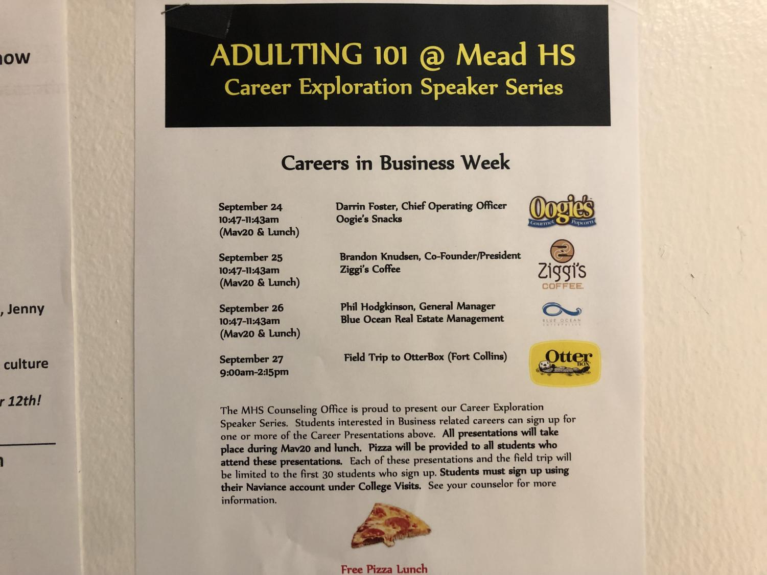 The poster for the September adulting 101 course, posted outside Mrs. Hedlun's room- D134.