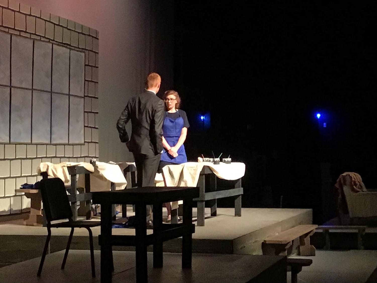 Ana Manica ('21) and Braden McCawley ('20) star as Grace Fryer and Arthur Roeder in the fall production of Radium Girls.