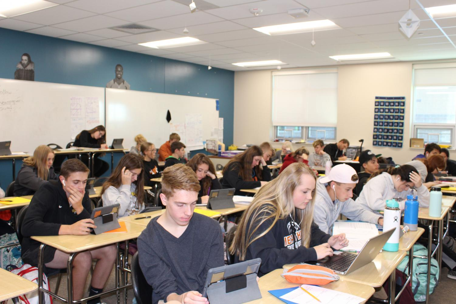 Students work in their B7 Study Hall.