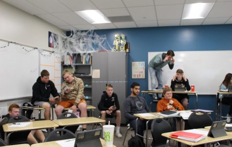 Students off-task in their B7 math class.