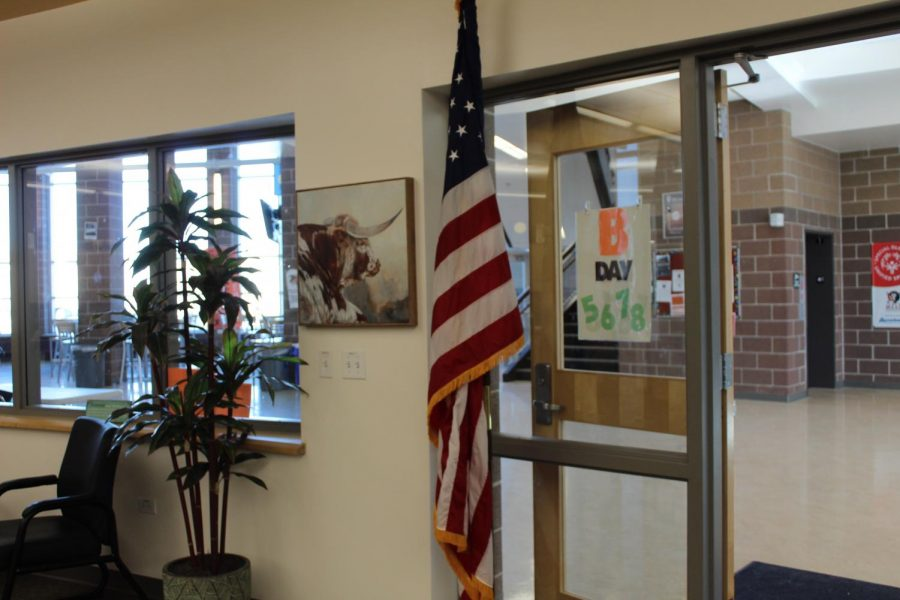 The American flag sits in the front office.
