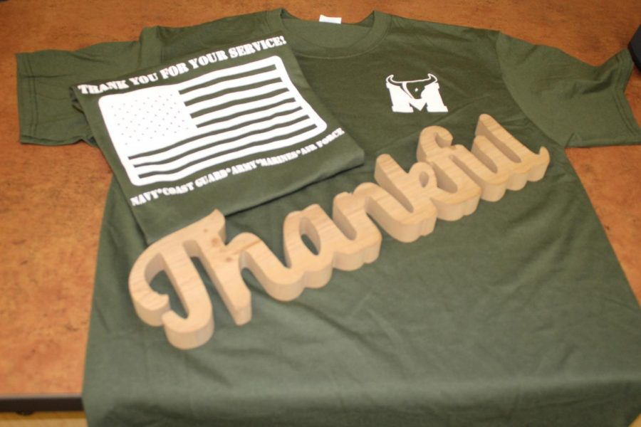 Student Council is selling Veteran's Day t-shirts in the commons at lunch for $10.