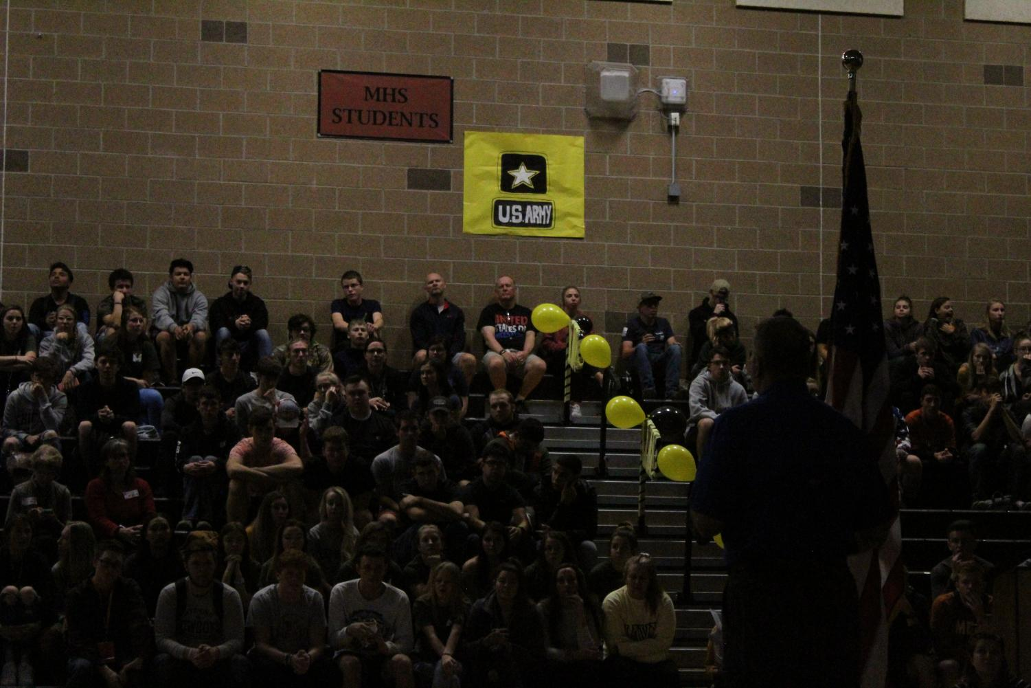 Seniors+were+chosen+to+honor+the+Army+in+the+assembly+today.