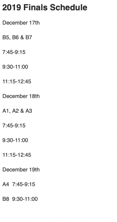 Finals Schedule for Fall 2019