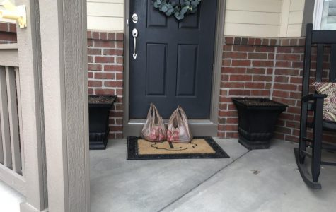 Groceries on the porch.