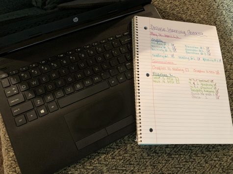 A picture of a laptop and an online learning checklist.