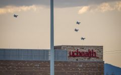 Four F-16's from the Warriors of the 140th Wing of the Colorado Air National Guard flyover Longmont's UCHealth on 119.