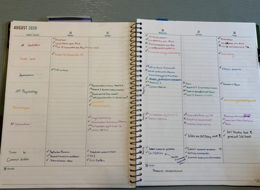 Joya Haskin's ('21) color coded planner