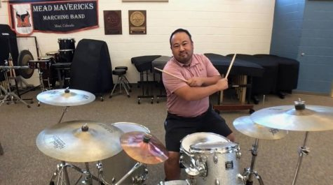 Mr. Lemons shows off his drumming skills.