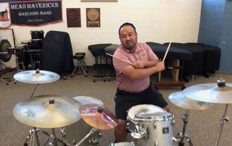 Mr. Lemons shows off his drumming skills.