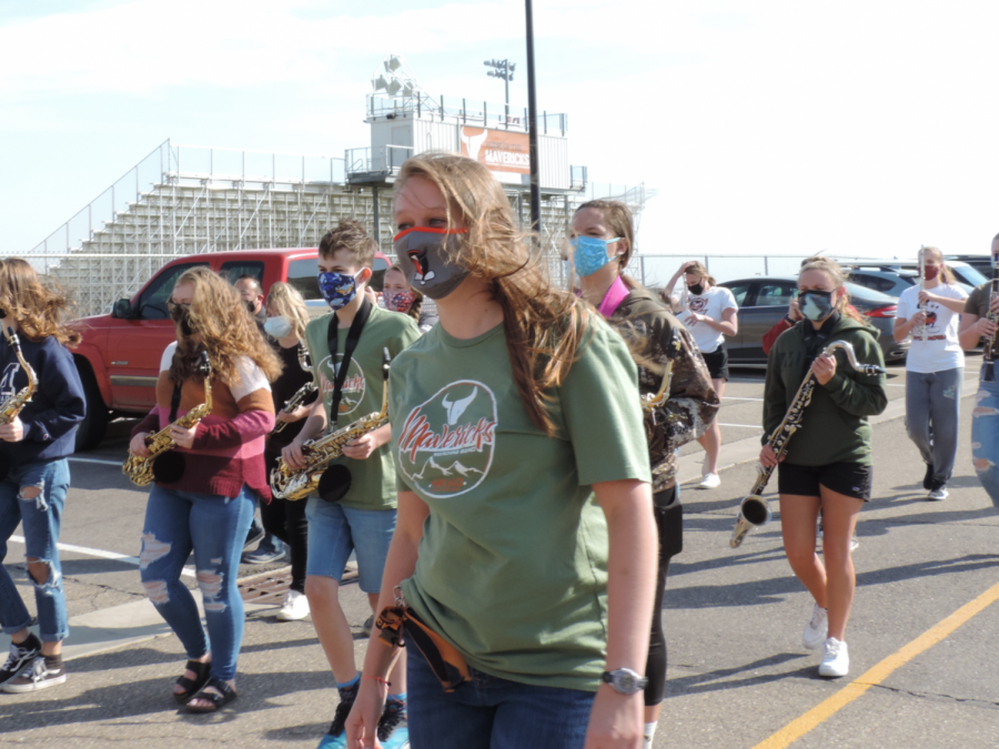 Ms. Abigail Koehler marches with the Marching Band in October.
