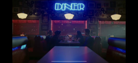 Archie, Betty, Veronica, and Jughead have milkshakes at a local diner called Pop's Chock lit Shoppe.