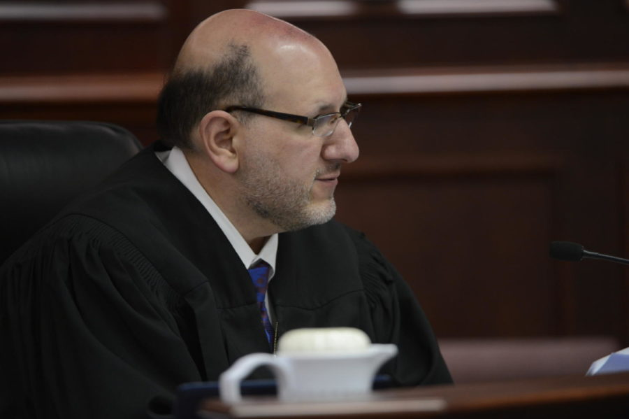 CENTENNIAL, CO - JUNE 04: Arapahoe County district judge, Carlos Samour, Jr. presides over an advisement hearing for James Holmes Tuesday morning June 04, 2013 at the Arapahoe County Justice Center. Holmes is accused of killing 12 people and injuring 70 others in a shooting rampage at an Aurora theater, July 20th, 2012. The court accepted James Holmes plea of not guilty by reason of insanity and has ordered a sanity evaluation at the Colorado Mental Health Institute of Pueblo. (Photo By AndyCross/The Denver Post)