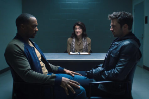 Pictured above is Sam and Bucky during a staring contest in the middle of a counseling session in Episode 2.