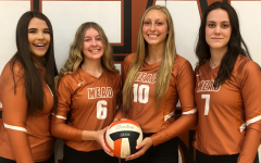 Volleyball seniors Katie Couch, Tayler Tatham, Quincey Coyle, and Morgan Munro.